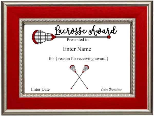 Lacrosse awards lacrosse certificates lacrosse award yelopaper Gallery