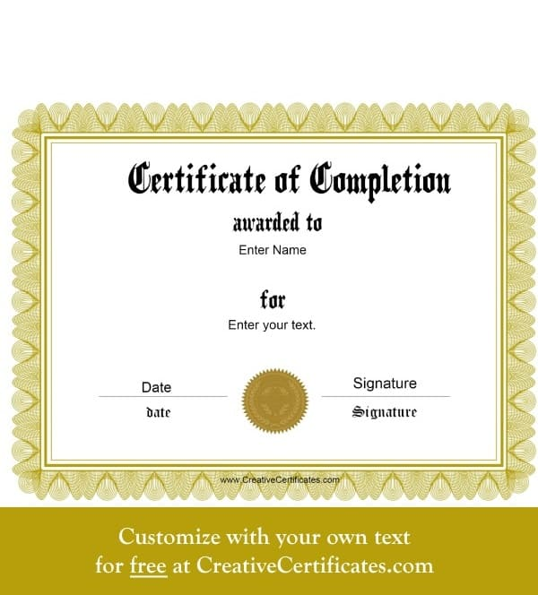 Free Certificate of Completion | Customize Online ...