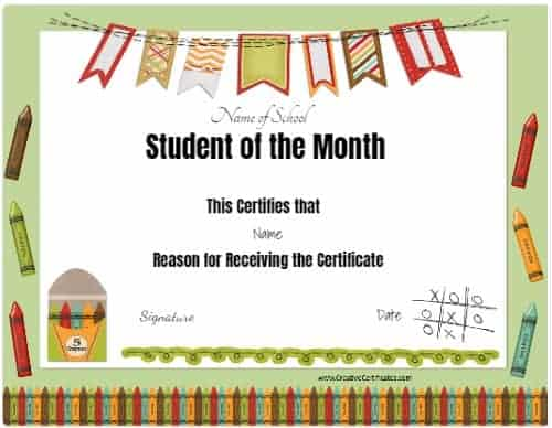 school certificate with crayons and a colored banner