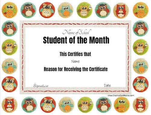 Free Editable Printable Student of the Month Certificate