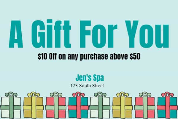 Free printable spa gift certificate template